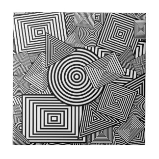 Geometric Shapes Collage (Black & White) Tile
