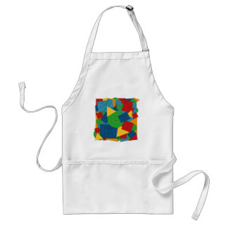 Geometric Shapes Collage (Bright Colors) Adult Apron