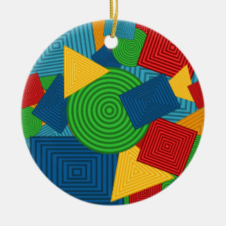Geometric Shapes Collage (Bright Colors) Ceramic Ornament