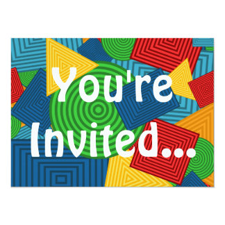 Geometric Shapes Collage (Bright Colors) 5.5x7.5 Paper Invitation Card
