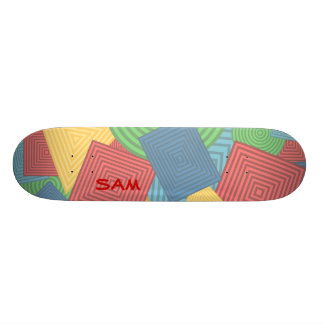 Geometric Shapes Collage (Bright Colors) Skate Board