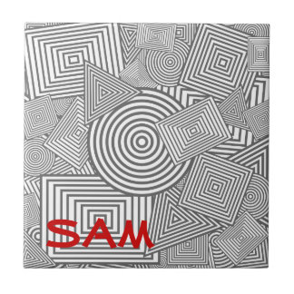 Geometric Shapes Collage Grey White Tiles