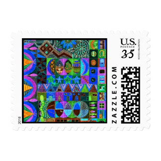 Geometric Shapes Collage Postage