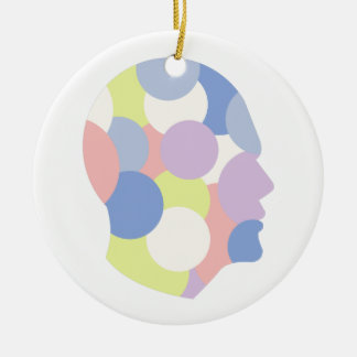 Geometric Shapes Inside Human Head Abstract Design Ceramic Ornament
