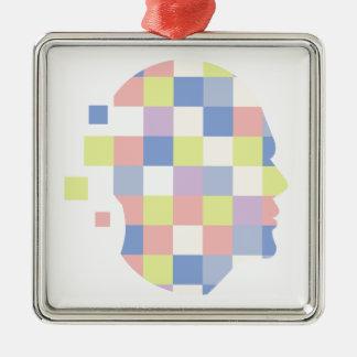 Geometric Shapes Inside Human Head Abstract Design Metal Ornament