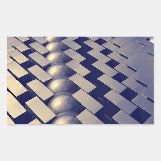 Geometric Shapes of Gold Rectangular Sticker