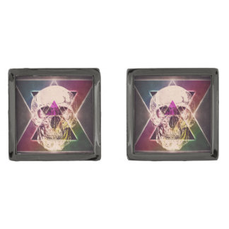 Geometric skull cufflinks