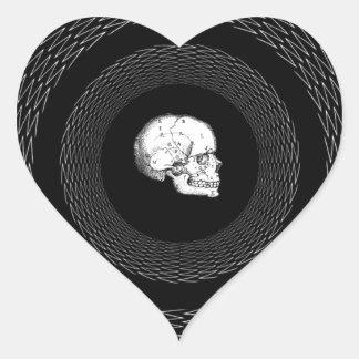 Geometric Skull Design Heart Sticker