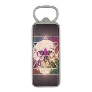 Geometric skull magnetic bottle opener