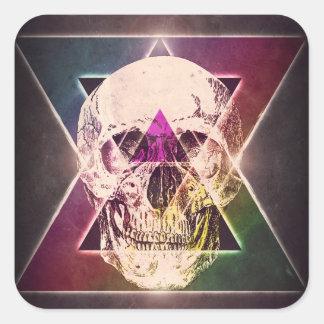 Geometric skull square sticker