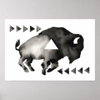 Geometric Sleepy Buffalo . Mod Art . Black White Poster