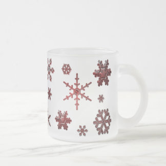 Geometric Snowflakes - Red Frosted Glass Coffee Mug