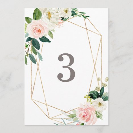 Geometric Spring Romance Table Numbers