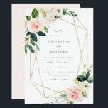"Geometric Spring Romance Wedding Invitation<br><div class=""desc"">A modern and romantic floral design featuring faux gold geometric lines.</div>"
