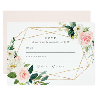 Geometric Spring Romance Wedding RSVP Invitation