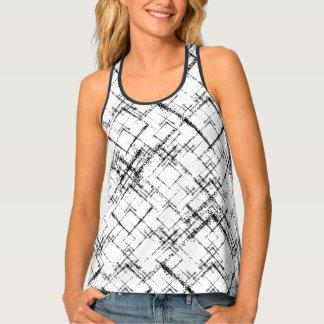 geometric squares crisscross black on white tank top
