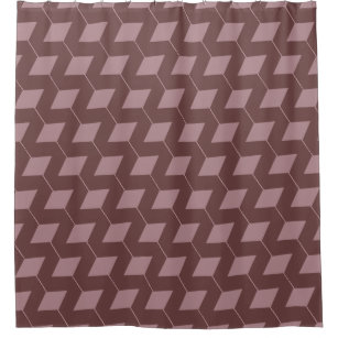Geometric Squares Dusty Rose Shower Curtain