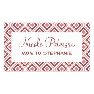 geometric squares pattern marsala Mommy Card Double-Sided Standard Business Cards (Pack Of 100)