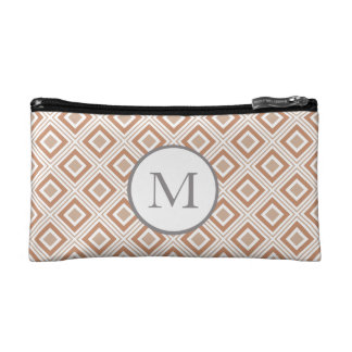 geometric squares pattern warm colors cosmetic bag