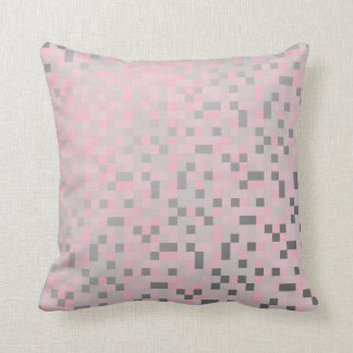 Geometric Squares Silver Gray Pink Rose Cyber Throw Pillow