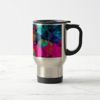 Geometric Stained Glass Rainbow Colorblock Travel Mug