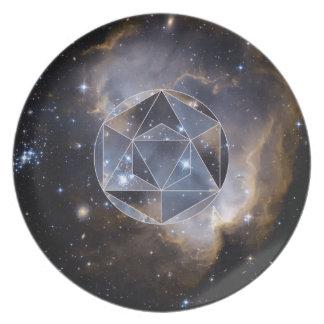 Geometric star cluster melamine plate