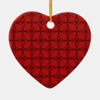 Geometric Star Heart Christmas Ornament, Red Ceramic Ornament