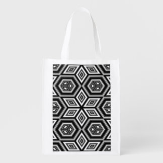 Geometric Star Pattern Grocery Bags