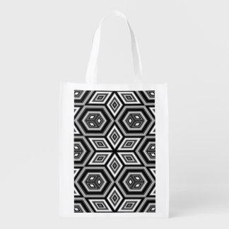 Geometric Star Pattern Reusable Grocery Bag