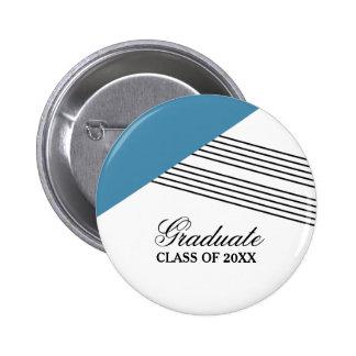Geometric Stripe Blue Graduation Button