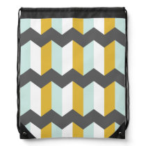Geometric Stripes Chevron Mint And Yellow Pattern Drawstring Backpack