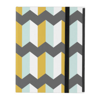 Geometric Stripes Chevron Mint And Yellow Pattern iPad Folio Case