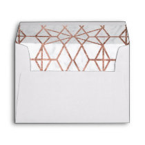Geometric stripes triangles rose gold white marble envelope