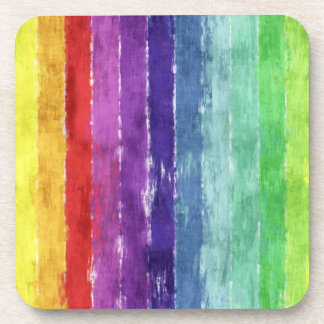 Geometric Stripes Watercolor Coaster