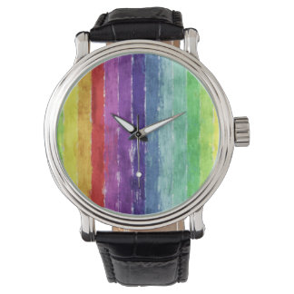 Geometric Stripes Watercolor Wrist Watch