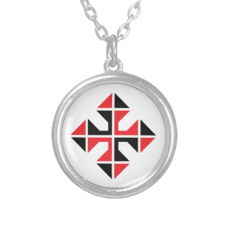 Geometric style red and black Cross Silver Plated Necklace
