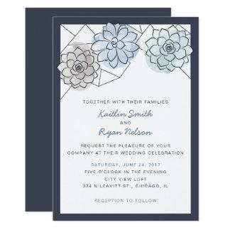 Geometric Succulent Wedding Invitation
