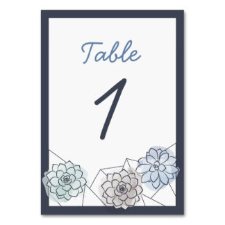 Geometric Succulent Wedding Table Card