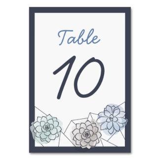 Geometric Succulent Wedding Table Card - 10
