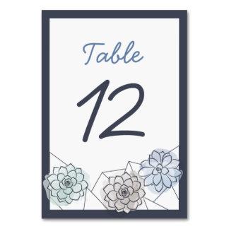 Geometric Succulent Wedding Table Card - 12