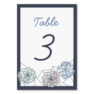 Geometric Succulent Wedding Table Card - 3