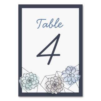 Geometric Succulent Wedding Table Card - 4
