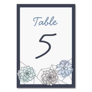 Geometric Succulent Wedding Table Card - 5