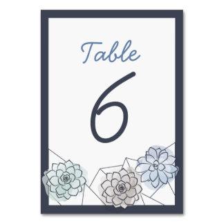 Geometric Succulent Wedding Table Card - 6