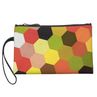 Geometric Summer Colours Mini Clutch Wristlet Hex