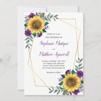 Purple Sunflower Wedding Invitations, Geometric Floral Gold