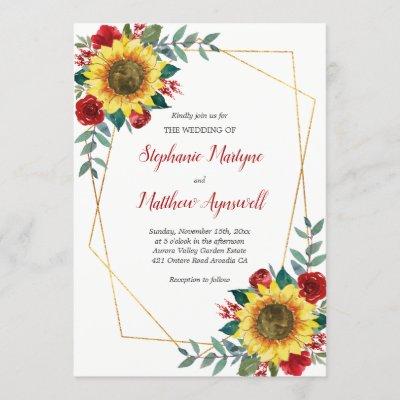 Geometric Sunflower Red Roses Floral Wedding Invitation