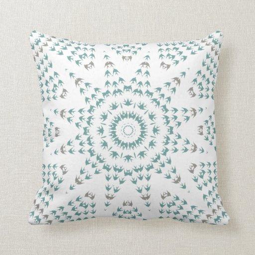 Geometric Swallow Bird Rosetta Pattern in Blue Throw Pillow