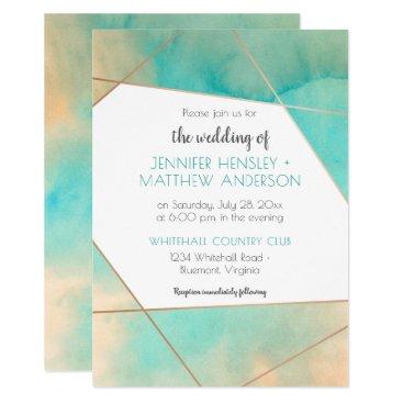 Beach Themed Geometric Teal and Peach Watercolor Splash Wedding Card