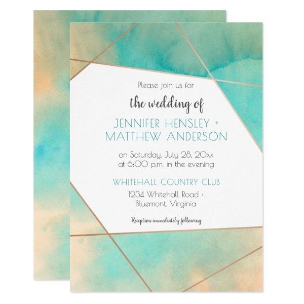 Geometric Teal and Peach Watercolor Splash Wedding Card